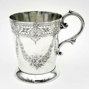 VICTORIAN ENGRAVED SILVER PLATE CHRISTENING MUG Second Half 19th Century