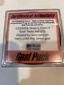 GAME USED SCORED GOAL PUCK TAYLOR HALL 174th Career Goal HART MVP SEASON