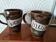 PENDLE POTTERY PAIR OF MUGS - MINE AND YOURS - Signed - Beautiful