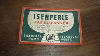 OLD 1950s GERMAN BIER BEER LABEL, ISENBECK BREWERY HAMM GERMANY, TAFELWASSER