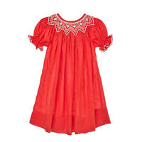 Classic Red Smocked Bishop Dress NEW * boutique *