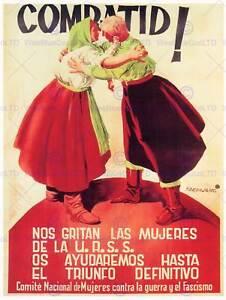 WAR SPANISH CIVIL PROPAGANDA SOVIET WOMEN SPAIN COMMUNISM VINTAGE POSTER 2870PY