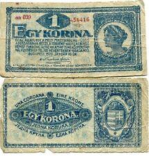 Kingdom Hungary Hungarian 1920 1 Ket Korona Banknote Horthy Circulated First