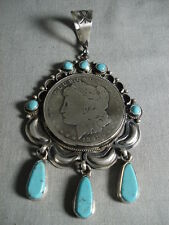 HUGE NAVAJO SILVER COIN TEARDROP TURQUOISE SILVER PENDANT