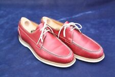John Lobb Men's Trinidad Leather Dk Red Boat Deck Shoes 5E UK 6 US England