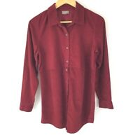 J. Jill Button Down Corduroy Tunic Shirt Women S Red Long Sleeve Cotton Casual