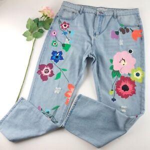 Misslook Distressed Flower Painted Jeans Sz 4X