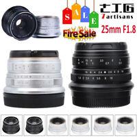 7Artisans 25mm F1.8 Alloy MF Lens for Sony E/Canon EOS-M/Fuji FX/ M4/3 Camera CO