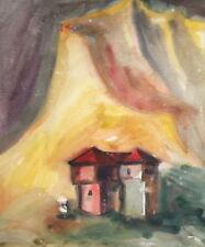 Impressionist landscape vintage watercolor drawing house