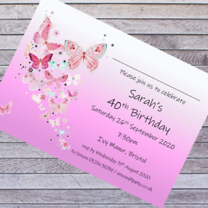 PERSONALISED BIRTHDAY PARTY INVITATIONS 40th 50th 60th 70th 80th 90th .... x10