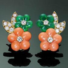VAN CLEEF & ARPELS Diamond Coral Chalcedony 18k Yellow Gold Flower Earrings