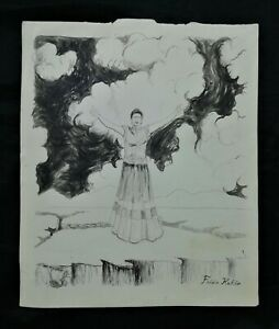 Frida Kahlo ink on paper, vintage, rare,