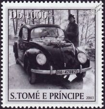 VOLKSWAGEN VW Beetle Käfer Car Stamp #6 Black (2003 St Thomas & Prince Islands)