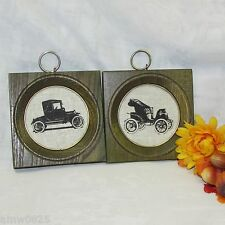 WALL PLAQUES VINTAGE PRINTED LINEN SIHLOUETTES CLASSIC CAR WOOD FRAME AUTO decor