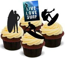 NOVELTY SURFING MIX 12 STAND UP Edible Cake Toppers Birthday Surf Board Dude