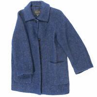 Massimo Dutti Wool Blend Knit Navy Blue Collared Pea Coat Jacket Medium