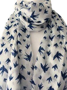 White Scarf Navy Blue Bird Print Cotton Wrap Fair Trade Birds Shawl Swallows New