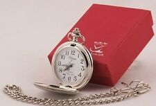 LOOOK! Silver Plated MIRROR FINISH Pocket Watch + Chain