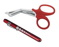 "RED Trauma Paramedic Shears Scissors 7.5"" + LED Reusable PenLight Pupil Gauge"