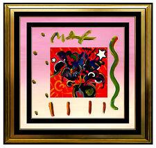 PETER MAX Acrylic Painting ORIGINAL VASE OF FLOWERS Signed Art Still Life oil