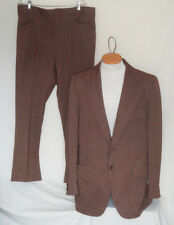 Vintage Light Brown Striped Dotted Knit Suit Cresbury Two Button C44 W38