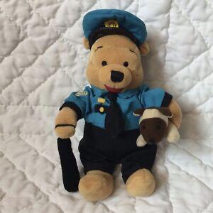 """Winnie Pooh Policeman Plush 8"""" Bean Bag Puppy Dog Baton Hat Cap Blue Black"""