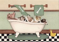 Shelties (shetland sheepdogs) fill tub at bath time / Lynch folk art print