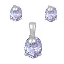 HOLIDAY ITEM LAVENDER .925 Sterling Silver Earring & Pendant Gift Set