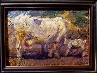 """Maurice Busset peintre Auvergnat """"La Vache et son Veau"""" vers 1928 Huile/Toile"""