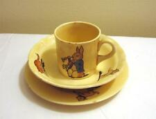 Vintage Crooksville China Ivo Glo Childs 3 Pc Set Cup Bowl Plate Animal Pattern