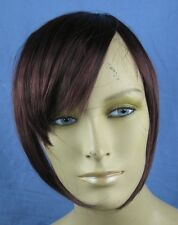 dark red clip in on fake fringe bangs hair extension hair piece fancy dress new