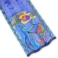 Laurel Burch Colorful Mermaid & Fish Sea Dreams Lavender 100% Silk Scarf