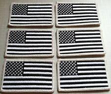 6 Six United States Flag Iron On Patch USA Emblem White & Black Colors