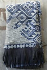 Kris 100% Wool Throw Reversible Blue and White with Leather Fringe – New
