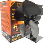 New Black Quad 4 Blade Heat Powered Eco Fuel Log Wood Burning Stove Top Fan