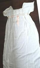 New listing Antique Edwardian Wht Cotton Lawn Lace Ladies Night Gown pink silk ribbon Large