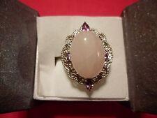 Rose Quart, Amethyst, Simulated Purple Sapphire Ring in Platinum Overlay-Size 7