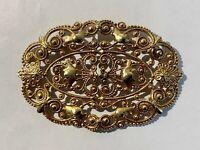 Victorian Antique Vintage Filigree Brooch, Gold Colour