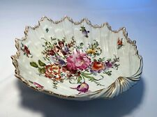 Large Antique Kpm Hand Painted Flowers Porcelain Shell Style Bowl