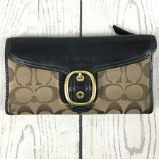 Coach Womens Wallet Check Book Brass Hardware Buckle Leather Brown Pink Plaid