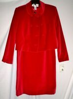 Jones New York Red Velvet Suit  Size 14 Nwt