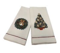 Front Gate Linen Guest Hand Towels Set Two Ivory Embroidered Christmas Holiday