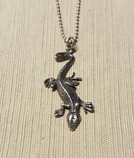 """Sterling silver lizard pendant on 16-18"""" adjustable ball chain"""