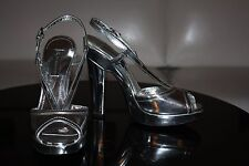 $875 BURBERRY Silver Leather Heels 37/7