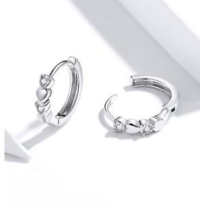Silber 925er Kleine Creolen Mini Hoops mit 2 Zirkonia Steinen und Herz Echt C75