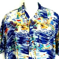 Mens L Hawaiian Camp Shirt Rayon Aloha Button Front Pocket Short Sleeve Utility