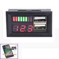 12V LED Lead Acid Battery Capacity Indicator Voltage Meter Dual USB Charger