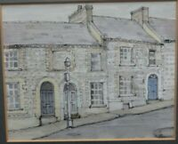 Old Watercolour Painting Of Arundel Cottages Sussex by  Mrs B Hutcheson, signed