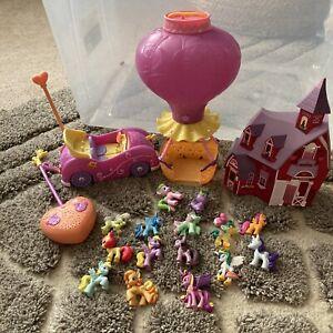 my little pony mini figure lot W/ remote control car, air balloon, house