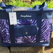 Tommy Bahama NAVY BLUE PALM LEAVES INSULATED LeisureCOOLER BAG Bottle Opener New